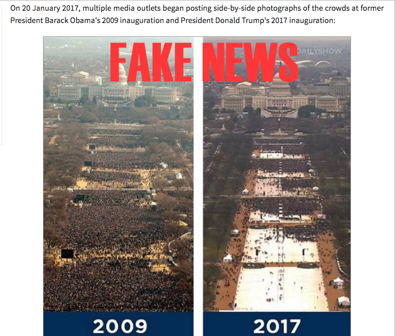 The misleading comparison of inauaguration pictures 2017 taken early in the morning