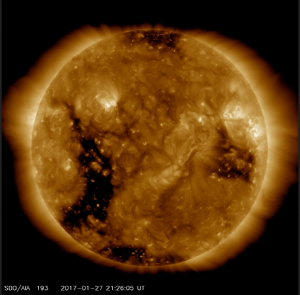 SDO AIA 193 angstroms 2017-01-27 showing in-coming coronal hole on the left