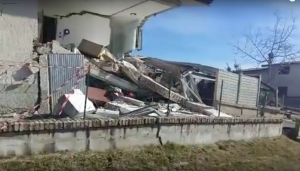 Collapsed House from Landslide in Ponzano, Italy