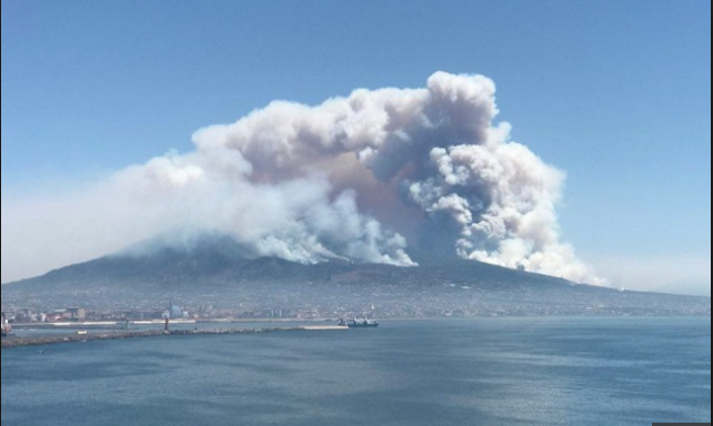 Mount Vesuvius wild fire 2017 image: the local.it