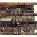 Sediment core of the Ulmener Maar showing a distinct orange-red layer of unknown consistency in the flood year of 1342, the composition of the  material has not been investigated. Image Sirocko, Frank; Wetter, Klima und Menschheitsgeschichte, 2010; Darmstadtp.42