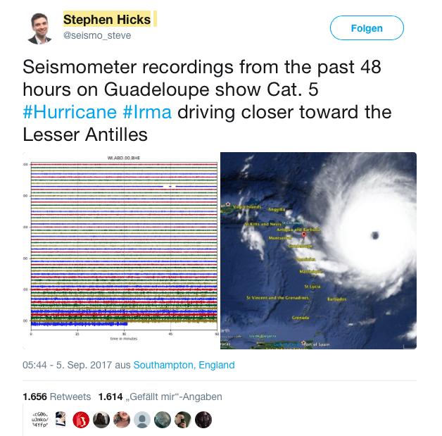 Seismometer Hurricane Irma Guadeloupe