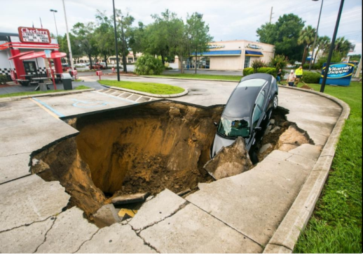 Sinkhole after heavy rains, June 2017 Ocala Florida