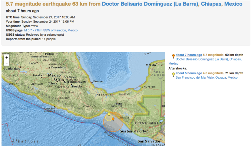 M 5.7 Earthquake Chiapas, Mexico
