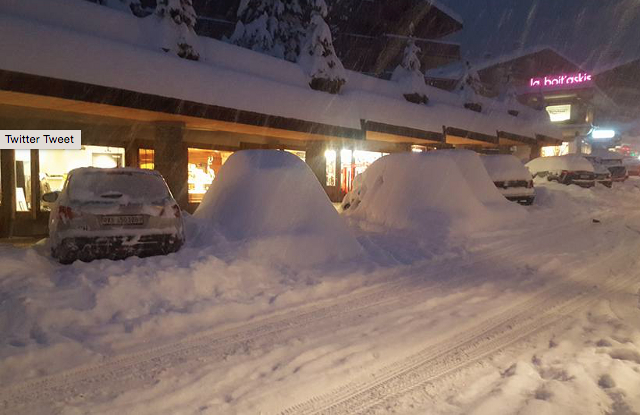 Heavy snow in Verbier in the Valais. Photo: Laura Mathew
