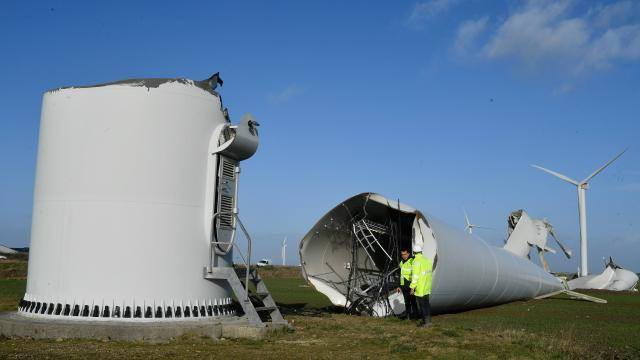 Severe winds destroyed this wind turbine in Bouin, Vendee, W France today (Jan 1). Report- Observatoire Keraunos