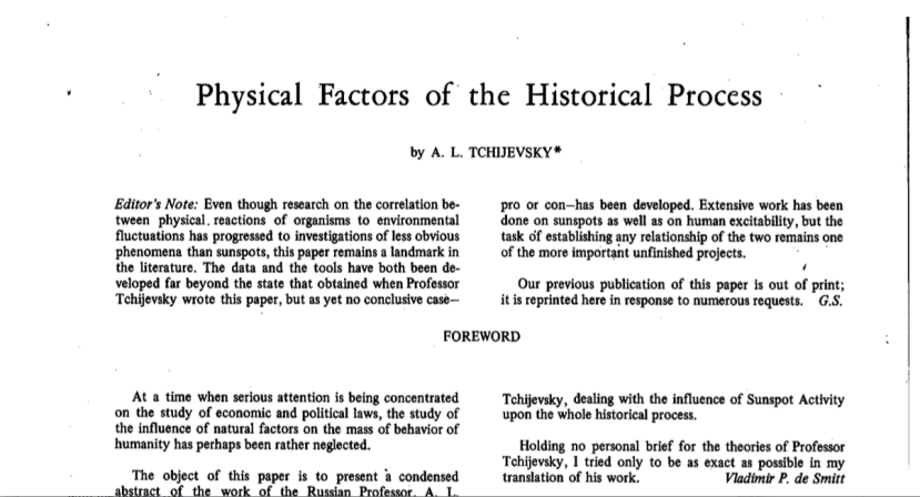 Tchijevsky Physical Process of the Historical Process