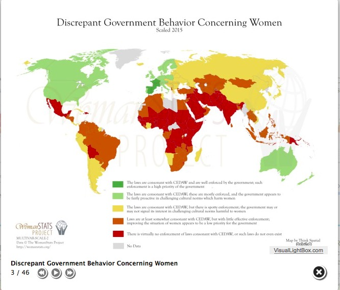 Discrepant Government Behavior Concerning Women, scaled 2015