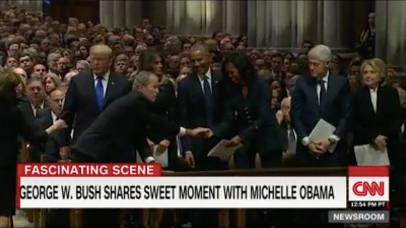 G. W. Bush Obama exchange notes at funeral of Bush Senior?