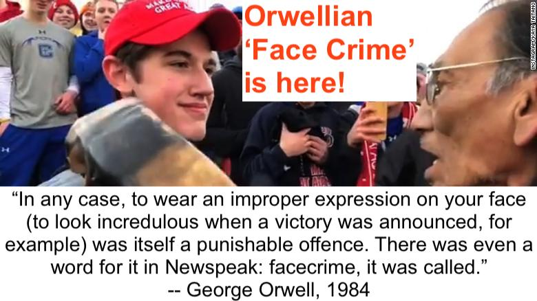 maga hat kid smirk face crime
