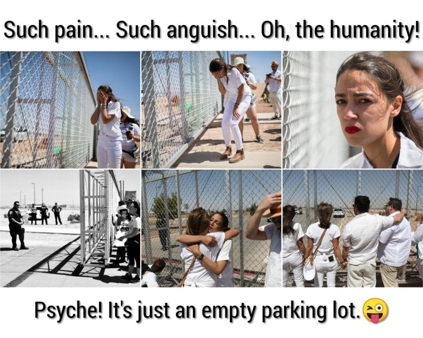 AOC fake crying at fake border fence