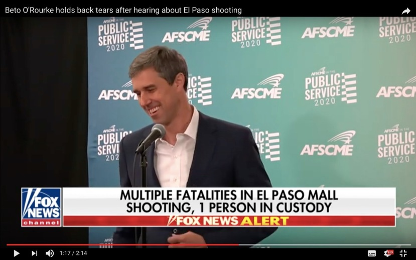 Beto O'Rourke holds back tears after hearing about El Tase shooting