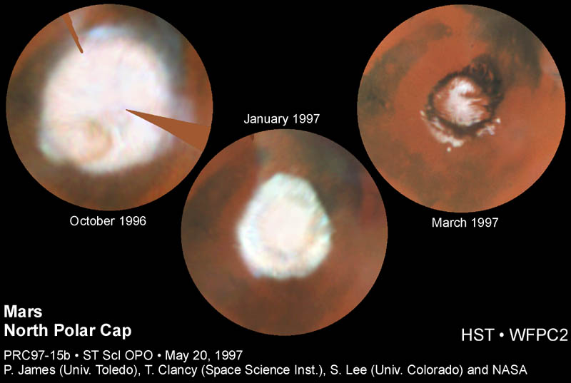 mars ice cap melt 1997