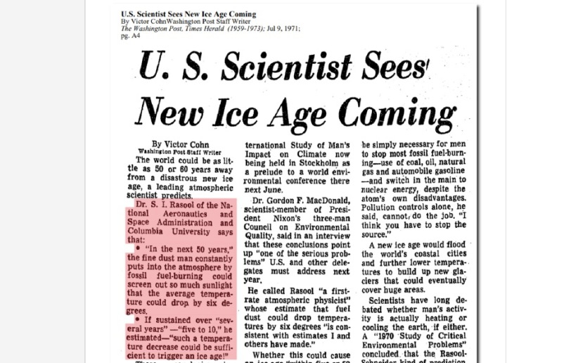 NOAA 1971 predicted Ice Age by 2070
