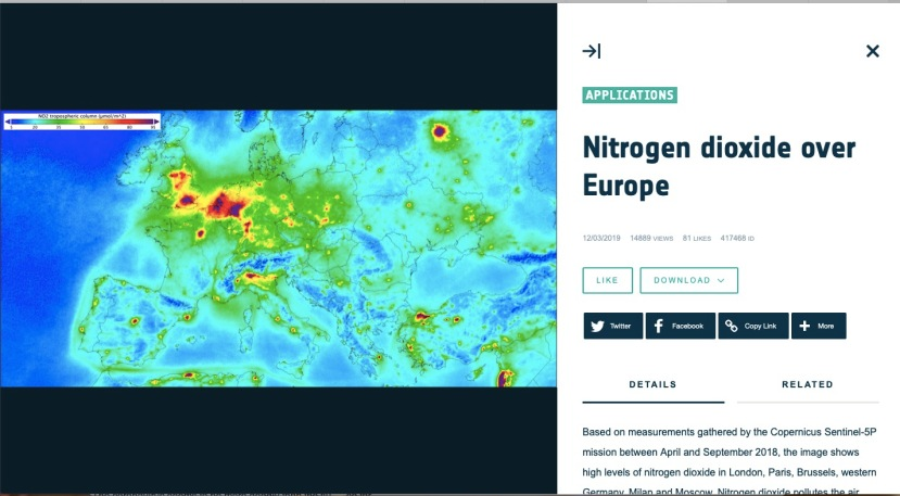 ESA normal Nitrogen dioxide concentrations  over Europe 2017