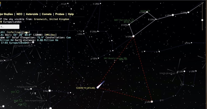 Find Comet ATLAS Y4 4--13-2020