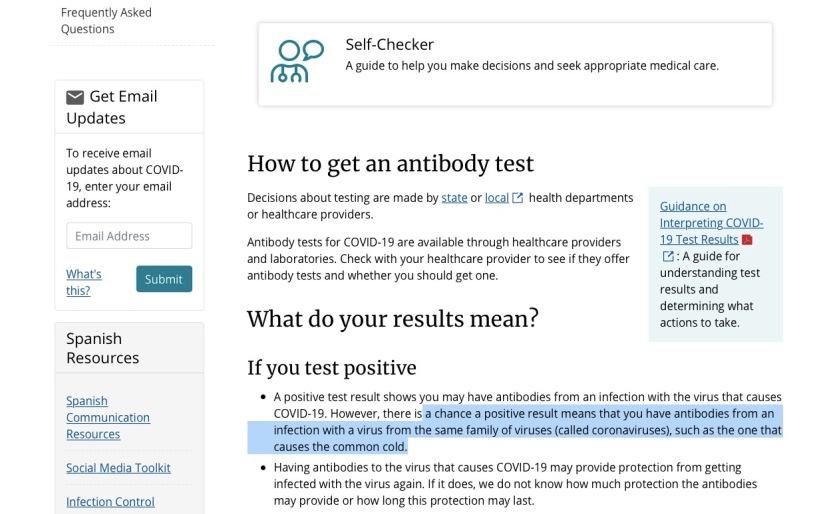 CDC Covid-19 test common cold